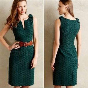 Anthro Tabitha Quilted Tema Dress Emerald Green